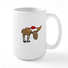 Funny Christmas Moose Cartoon Mugs