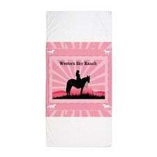 Pink Cowgirl Beach Towel