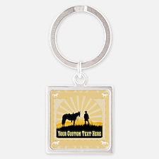 Add Text Cowboy Square Keychain