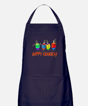 Happy Hanukkah Dancing Dreidels Apron (dark)
