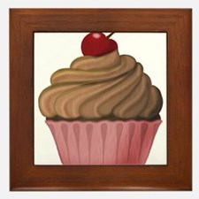 Sweet Pink and Brown Cupcake Framed Tile