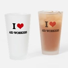 I love Aid Workers Drinking Glass