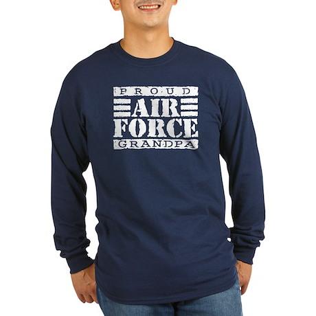 Proud Air Force Grandpa Long Sleeve Dark T-Shirt