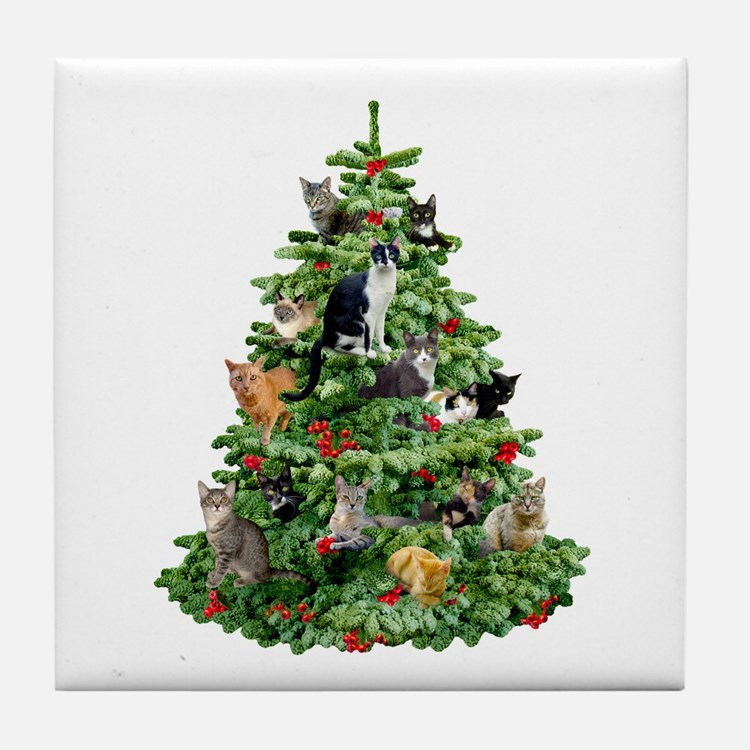Cats in Tree Tile Coaster