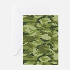 Green Camo Pattern Greeting Cards