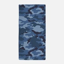 Blue Camo Pattern Beach Towel