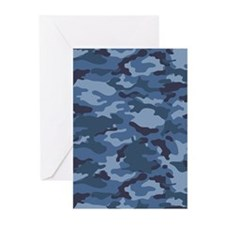 Blue Camo Pattern Greeting Cards (Pk of 20)