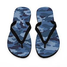 Blue Camo Pattern Flip Flops