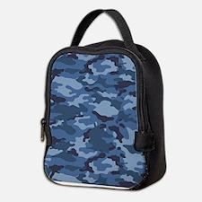 Blue Camo Pattern Neoprene Lunch Bag