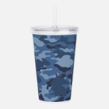 Blue Camo Pattern Acrylic Double-wall Tumbler
