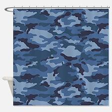 Blue Camo Pattern Shower Curtain