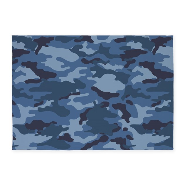 Camo Bathroom Rugs: Blue Camo Pattern 5'x7'Area Rug By PinkInkArt2