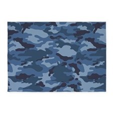 Blue Camo Pattern 5'x7'Area Rug