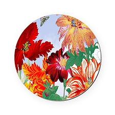 Dazzlin' Tulips, Dahlias, B'flies Cork Coaster
