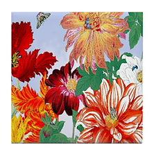Dazzlin' Tulips, Dahlias, B'flies Tile Coaster