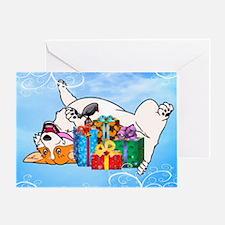 Christmas Corgi With Gifts Greeting Cards