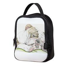 Sleepy English Bulldog Neoprene Lunch Bag