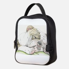 Sleepy English Bulldog Neoprene Lunch Bag