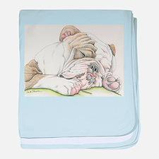Sleepy English Bulldog baby blanket