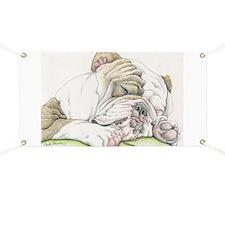 Sleepy English Bulldog Banner