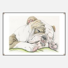 Sleepy English Bulldog Banner
