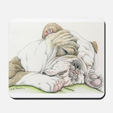 Sleepy English Bulldog Mousepad
