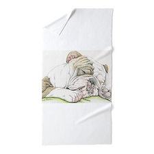 Sleepy English Bulldog Beach Towel