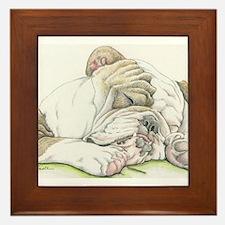 Sleepy English Bulldog Framed Tile