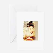 geisha girl Greeting Cards