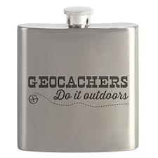 Geocachers do it outdoors Flask