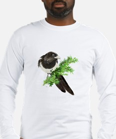 Watercolor Magpie Bird in Spruce Tree Long Sleeve