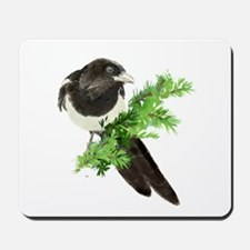 Watercolor Magpie Bird in Spruce Tree Mousepad