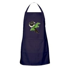 Watercolor Magpie Bird in Spruce Tree Apron (dark)