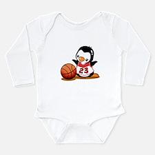 Basketball Penguin Long Sleeve Infant Bodysuit