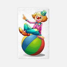 A clown sitting on a ball  3'x5' Area Rug