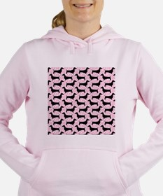 Baby Pink Polka Dachshunds Women's Hooded Sweatshi