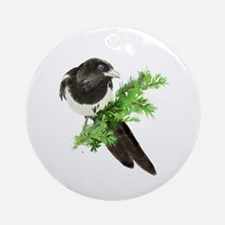Watercolor Magpie Bird in Spruce Tree Ornament (Ro