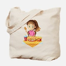 A girl eating at the fastfood store Tote Bag