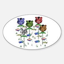Rainbow Tiger Garden Sticker (Oval)