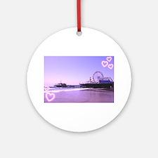 Purple Hearts Pier Ornament (Round)