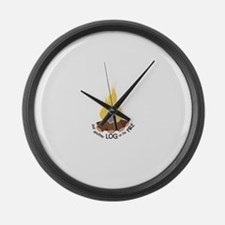 Log On The Fire Large Wall Clock