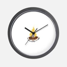 Log On The Fire Wall Clock