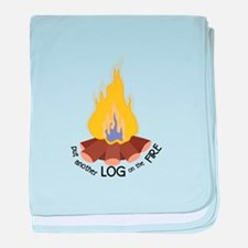 Log On The Fire baby blanket