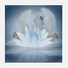Swan Song Fantasy Art Tile Coaster