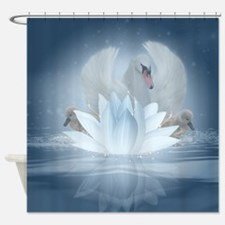 Swan Song Lotus Fantasy Art Shower Curtain