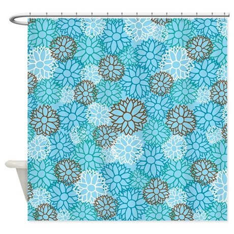 Turquoise Flower Pattern Shower Curtain By MainstreetHomewares