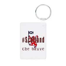 Hashtag Scotland Red Tartan Brave Keychains