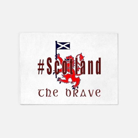 Hashtag Scotland Red Tartan Brave 5'x7'area Rug