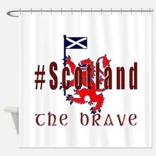 Hashtag Scotland red tartan brave Shower Curtain