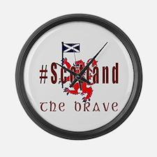 Hashtag Scotland Red Tartan Brave Large Wall Clock